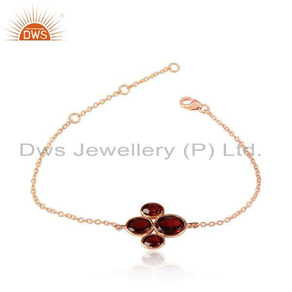Rose gold plated 925 silver natural garnet gemstone chain bracelet