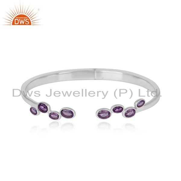 Designer Sterling Silver 925 Cuff Jewelry with Natural Amethyst
