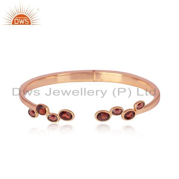 Designer Silver 925 Rose Gold on Cuff Jewelry with Natural Garnet