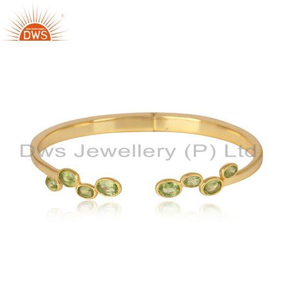 Designer silver 925 gold on cuff jewelry with natural peridot