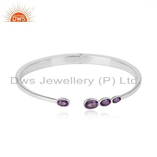 Handcrafted Designer Sterling Silver Cuff Jewellery with Amethyst
