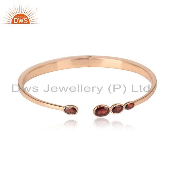 Designer Silver 925 Rose Gold on Cuff Jewellery with Garnet