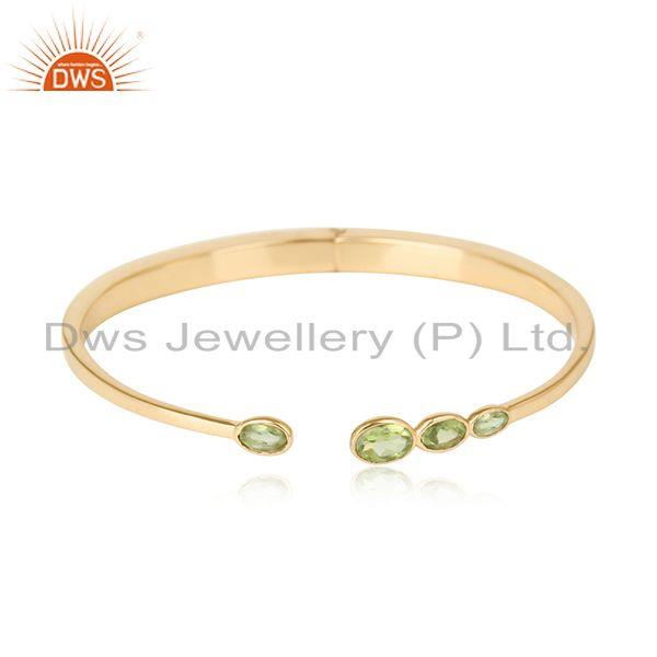 Designer Silver 925 Yellow Gold on Cuff Jewellery with Peridot