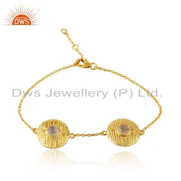 Texture design gold plated designer rainbow moonstone chain bracelet