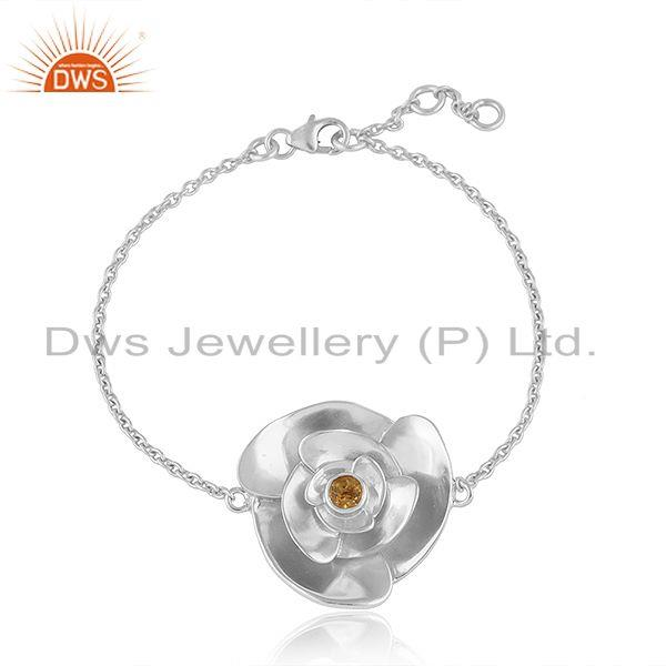 Rose flower design fine sterling silver citrine gemstone bracelet