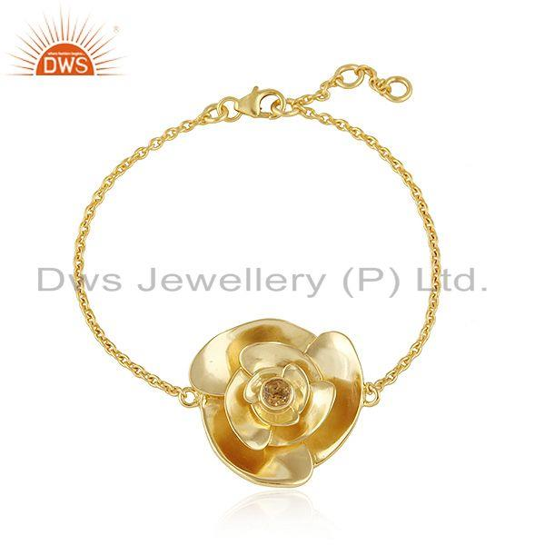 Rose flower design gold plated silver citrine gemstone bracelet