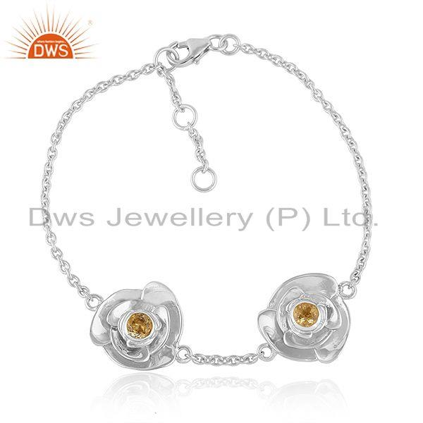 Sterling fine silver rose design citrine gemstone chain bracelet