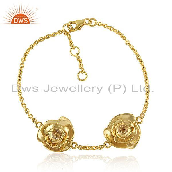 Citrine gemstone rose flower gold plated 925 silver chain bracelet
