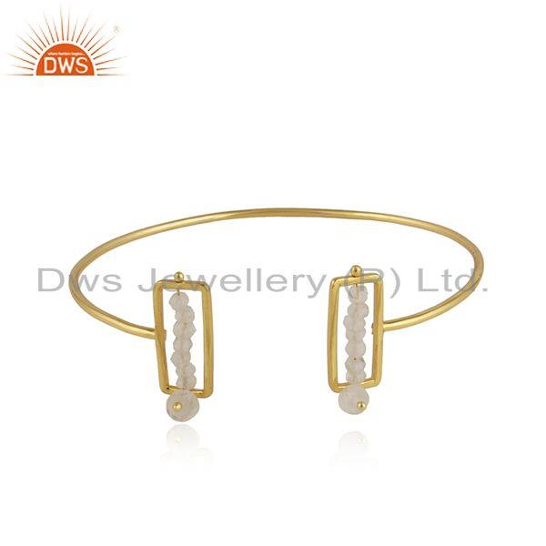 Gold plated 925 silver frame beaded rainbow moonstone cuff bangle