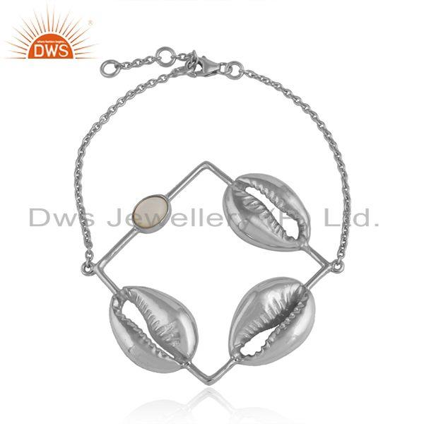Mother of pearl gemstone 3 cowrie design sterling silver bracelet
