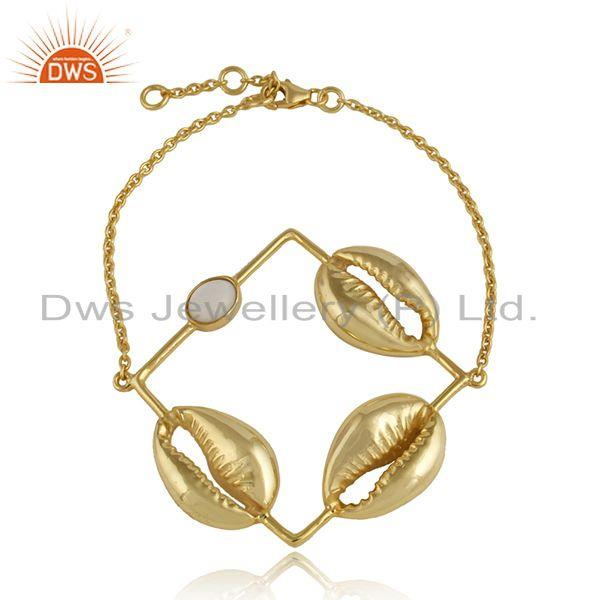 3 cowrie design mother of pearl gemstone gold plated silver bracelet