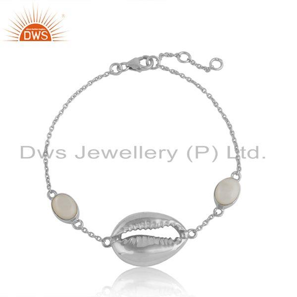 Mother of Pearl Gemstone Cowrie Design Sterling Silver Bracelet