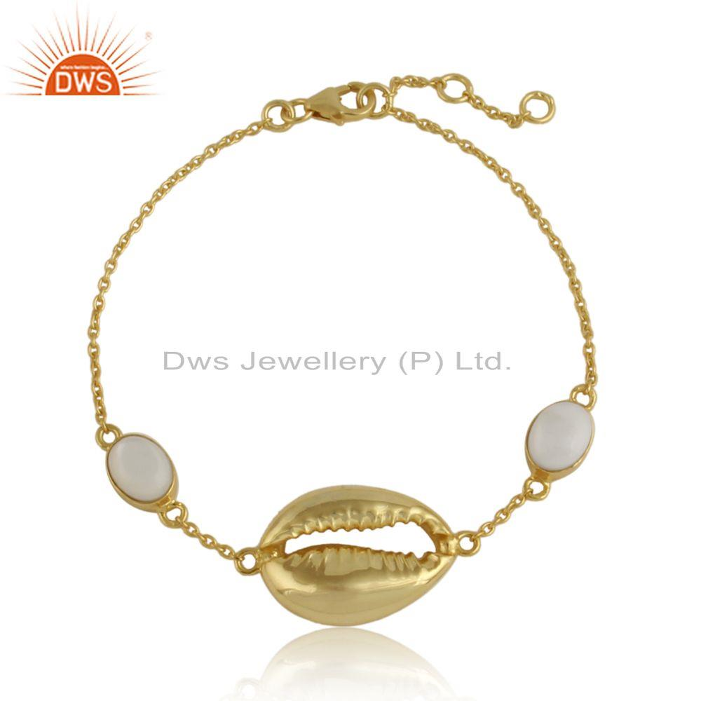 Cowrie Design Yellow Gold Plated 925 Silver Mother of Pearl Bracelet