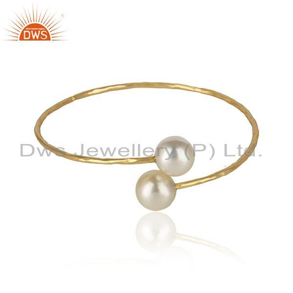 Natural Pearl Gemstone Sleek Gold Plated 925 Silver Designer Bangles
