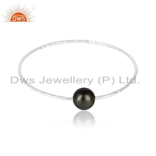 White Rhodium Plated Silver Gray Pearl Gemstone Womens Bangle