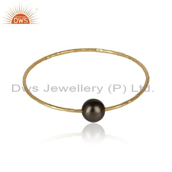 Gray pearl gemstone handmade yellow gold plated 925 silver bangles