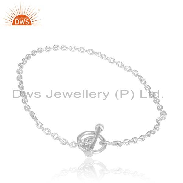 Plain Sterling Silver Chain Bracelet with Toggle Clasp Closure