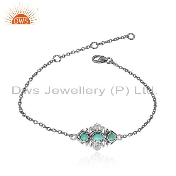 Boho style bracelet in oxidised silver with arizona turquoise