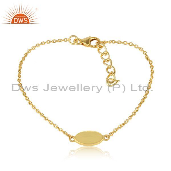 Dainty plain charm bracelet in yellow gold on silver 925
