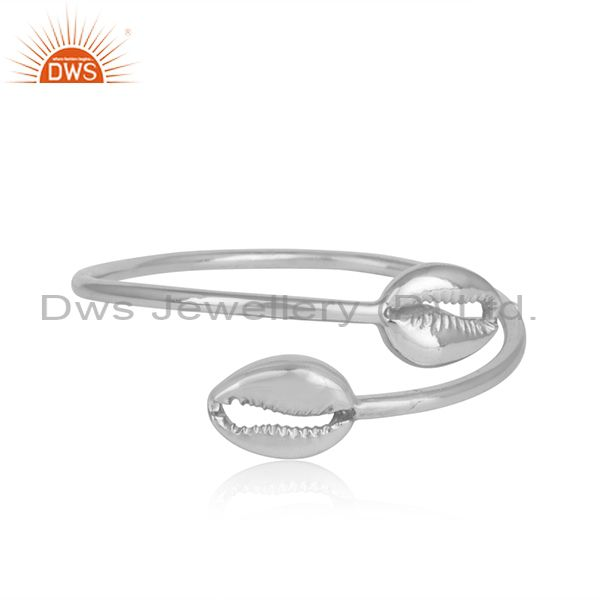 Designer Cowrie Sleek Bypass Cuff in Solid Silver 925