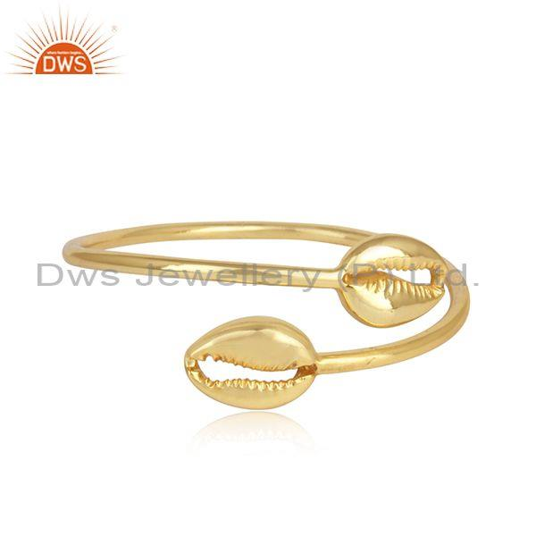 Designer Cowrie Sleek Bypass Cuff in Yellow Gold On Silver 925