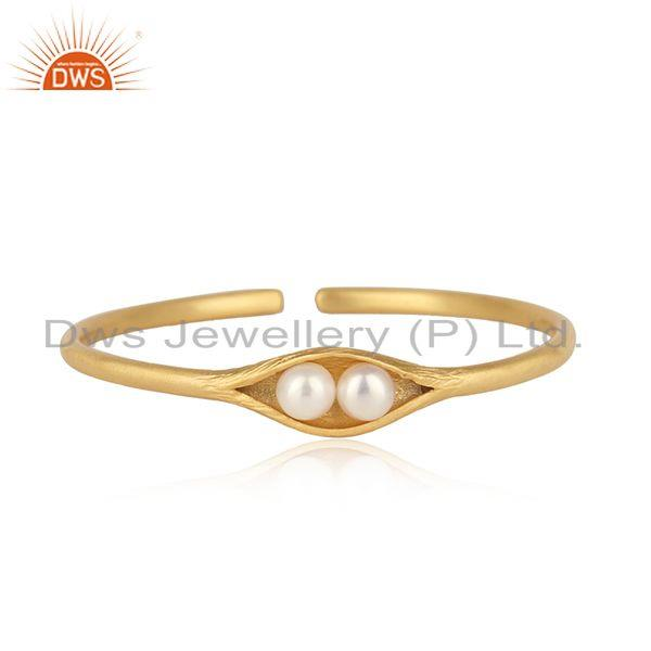 Designer Seedpod Cuff in Yellow Gold on Silver with Natural Pearls