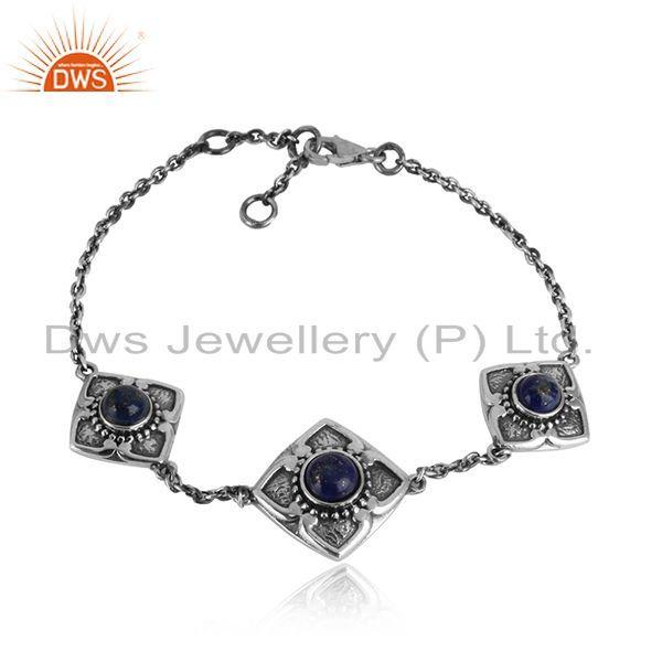 Designer Classic 3 Station Lapis Bracelet in Oxidized Silver 925