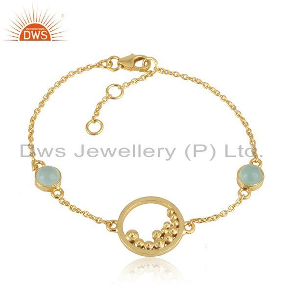 Handcrafted designer aqua chalcedony bracelet in gold on silver 925