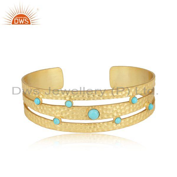 Designer 3 Strip Hammered Gold on Silver 925 Arizona Turquoise Cuff