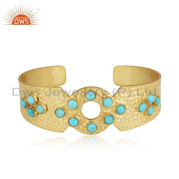 Handmade Designer Hammered Gold on Silver Arizona Turquoise Cuff
