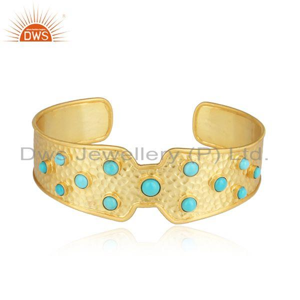 Hammered Bold Textured Gold on Silver Cuff with Arizona Turquoise