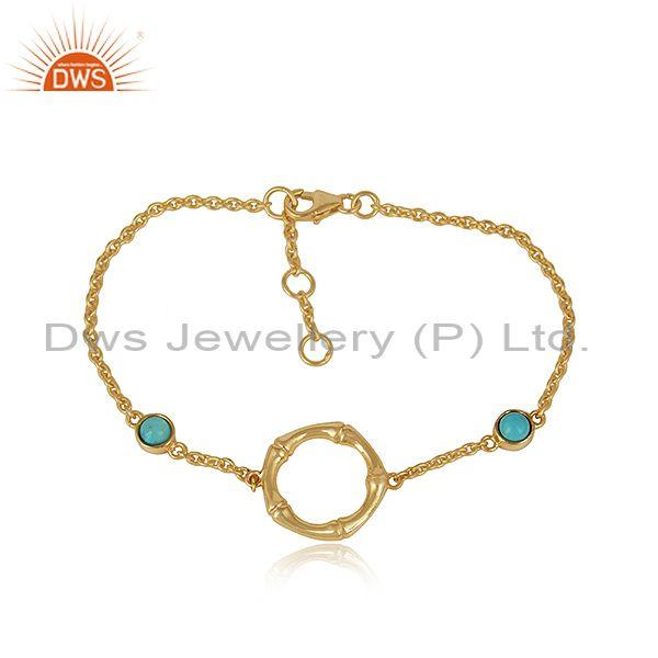 Bamboo Textured Gold on Silver Bracelet with Arizona Turquoise