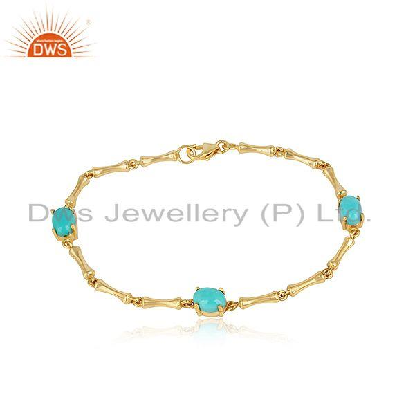 Bamboo Link Gold on Silver 925 Bracelet with Arizona Turquoise