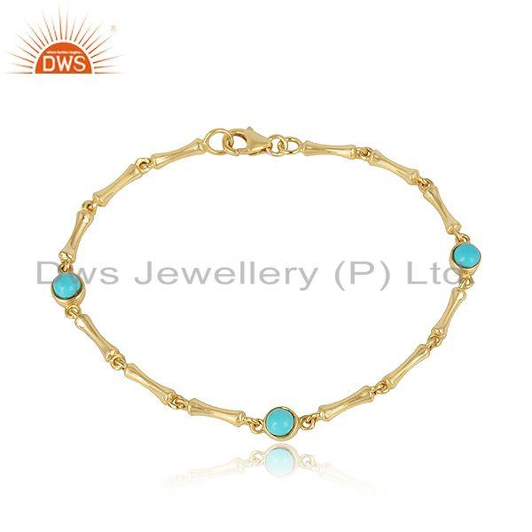 Bamboo Textured Link Gold on Silver Bracelet with Arizona Turquoise