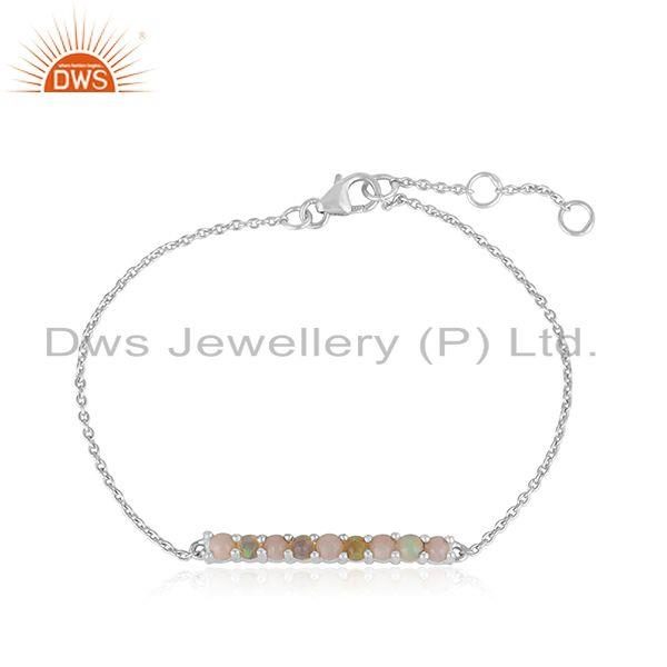 Dainty Sterling Silver 925 Bar Bracelet with Ethiopian and Pink Opal