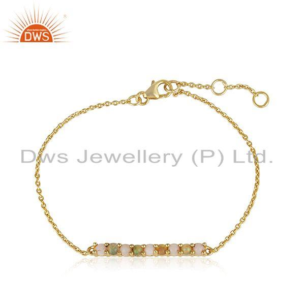 Dainty Gold on Silver 925 Bar Bracelet with Ethiopian and Pink Opal