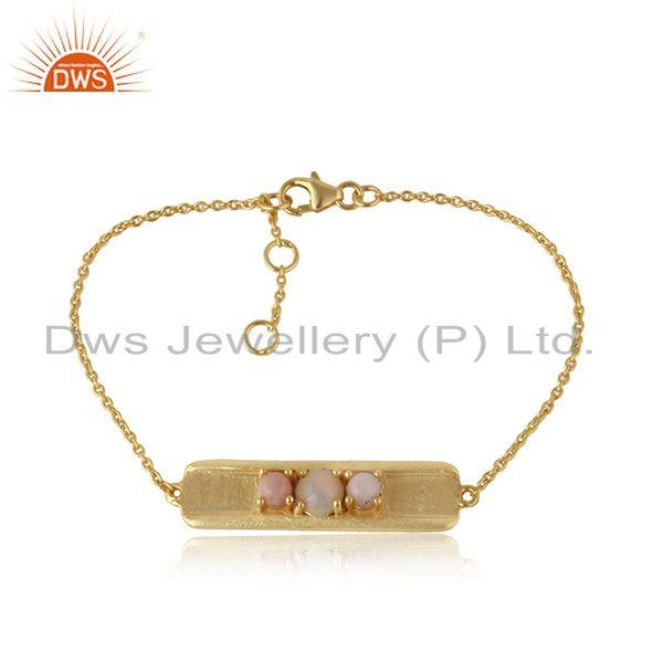 Handmade Gold on Silver 925 Bar Bracelet with Ethiopian and Pink Opal