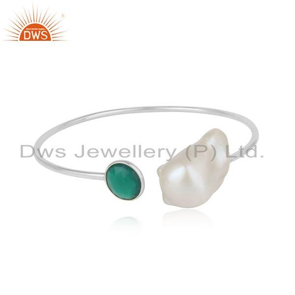 Handcrafted Designer Silver Cuff with Green Onyx and Natural Pearl