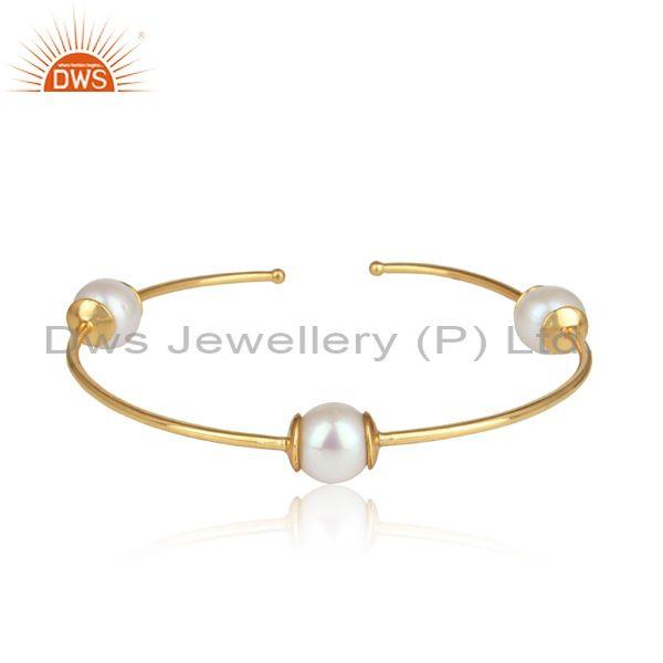 Handcrafted Sleek Yellow Gold on Silver 925 Pearl Bangle