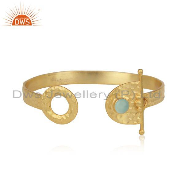 Hammered Textured Designer Gold on Silver Aqua Chalcedony Cuff