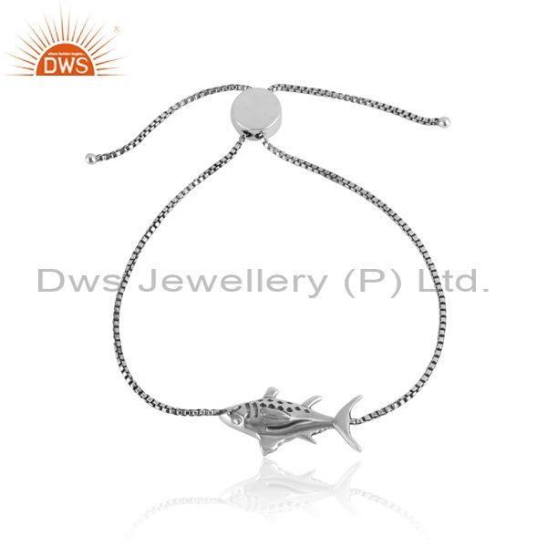 Handcrafted Fish Charm Oxidized Silver 925 Slider Btracelet