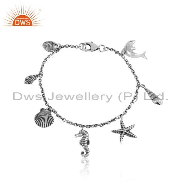 Hancrafted sea life multi charms oxidized silver 925 bracelet