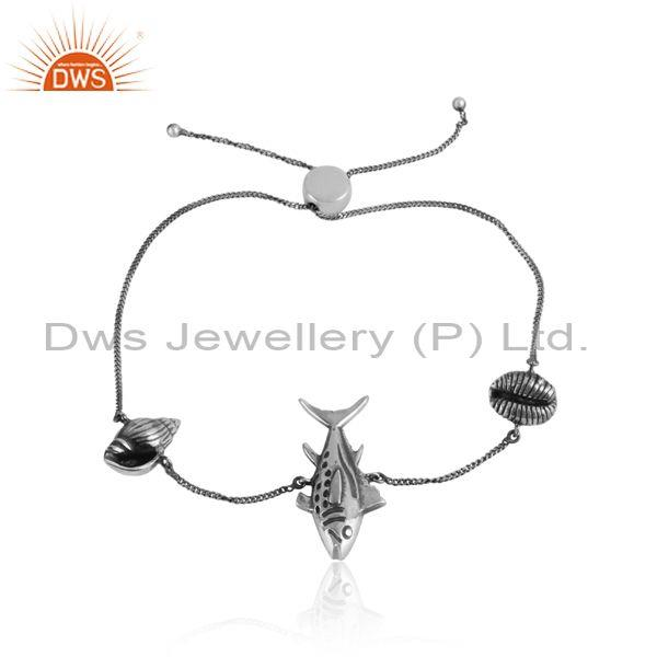 Handmade Sea Charms Oxidized Silver 925 Adjustable Bracelet