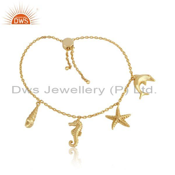 Handcrafted Sea Charms Gold on Silver 925 Adjustable Bracelet