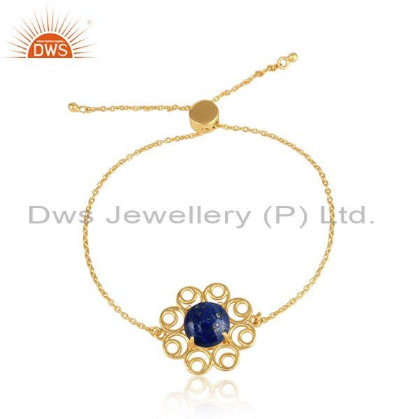 Designer Yellow Gold on Silver 925 Slider Bracelet with Lapis