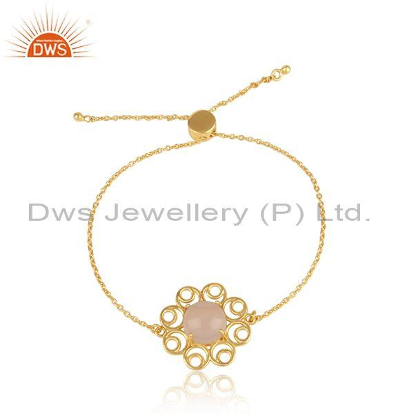Designer Gold on Silver Slider Bracelet with Rose Chalcedony