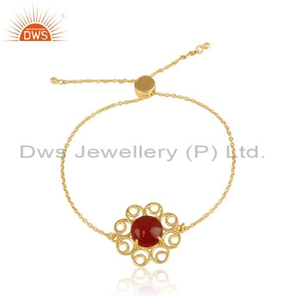 Designer Gold on Silver 925 Slider Bracelet with Red Onyx