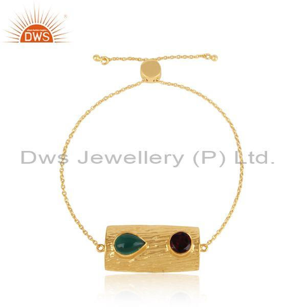 Gold on Silver Textured Slider Bracelet with Garnet, Green Onyx