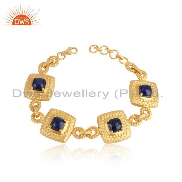 Yellow Gold on Silver Chunky Handtextured Bracelet with Lapis