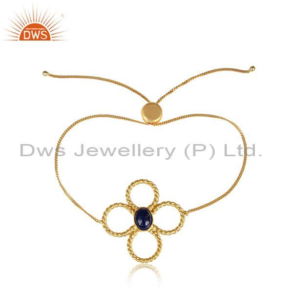 Handmade Twisted Floral Gold on Silver Slider Lapis Bracelet